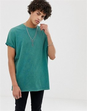 A.D: Oversized Longline T-shirt with Roll Sleeve