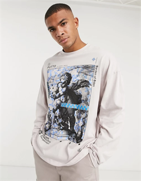 ASOS DESIGN oversized t-shirt with front photographic cherub print