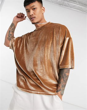ASOS DESIGN oversized t-shirt with half sleeve in beige velour