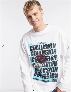 COLLUSION oversized long sleeve t-shirt with print in white