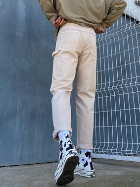 Ekru Regular Baggy Denim Pants